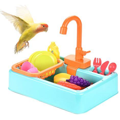 Baignoire Oiseau Jouet De Bain Oiseau Baignoire Perroquet Boîte De Bain Automatique Alimentation Mangeoire Oiseau Fournitures Ustensiles
