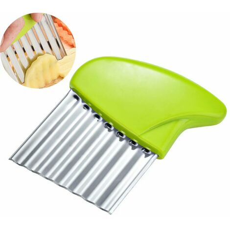 Coupe de pommes de terre en acier inoxydable Coupe-légumes multifonction Frites ondulées Outil de cuisine de coupe (vert