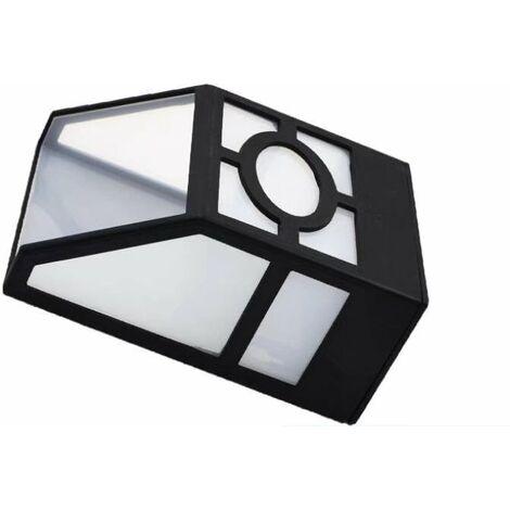 Applique murale rétro solaire Lumière solaire à panneau LED Éclairage mural Applique murale extérieure étanche à la pluie, lumière blanche