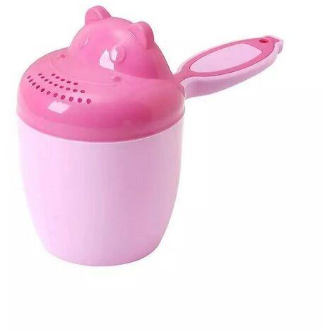 Shampoing de douche pour enfants - Bébé Shampooing Rincer Tasse Cuillère Douche Tasse - Shampooing Tasse Enfants Produits, cheveux, bain, douche, tasse de rinçage Rug Jug(Rose