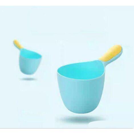 Shampoing de douche pour enfants - Bébé Shampooing Rincer Tasse Cuillère Douche Tasse - Shampooing Tasse Enfants Produits, cheveux, bain, douche, tasse de rinçage Rug Jug(Bleu clair