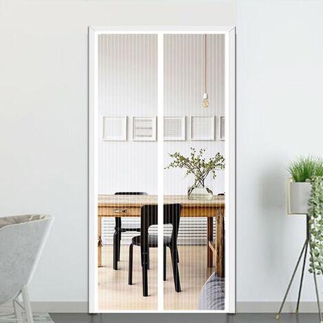 210 x 100cm Moustiquaire pour Portes, Avancée Rideau Magnétique Anti-insectes pour Porte de Balcon, porte Cave, Porte de Terrasse, Kit d'installation Complet