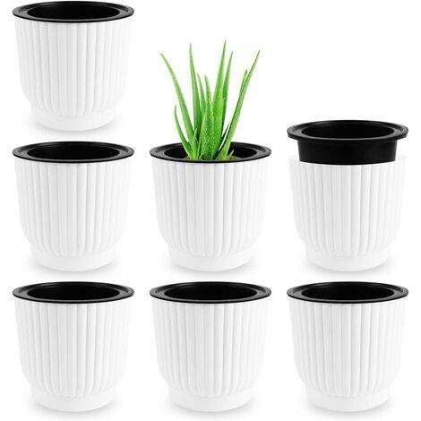 ILoveMilan 7 Pcs Pot à Fleurs d'arrosage Automatique, Pots de Fleurs, Pots de Fleurs Auto Arrosants d'intérieur Extérieur, Pots de Jardinière à Arrosage, Home Décoration Pots Fleurs Automatique Blanc