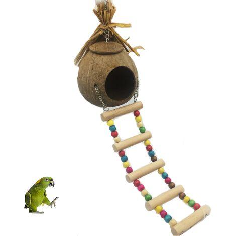 ILoveMilan Nid d'oiseau nid de perroquet nid de paille nid d'élevage Cage de coquille de noix de coco naturelle peut garder les animaux de compagnie perroquet Canari Pigeon Hamster
