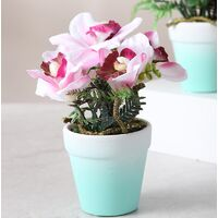 Fleur artificielle de style frais et simple fleur rose décoration en pot orchidée fleur artificielle (bleu)