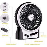 Mini Ventilateur de Table, USB Ventilateur Bureau Personnel Portable Batterie Rechargeable Silencieux 2600mAh 3 Vitesses Puissant Vent pour Cuisine Maison Voyage Pique-Nique-noir