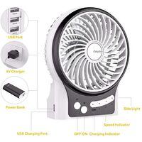 Mini Ventilateur de Table, USB Ventilateur Bureau Personnel Portable Batterie Rechargeable Silencieux 2600mAh 3 Vitesses Puissant Vent pour Cuisine Maison Voyage Pique-Nique-blanc