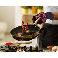Gant Anti Chaleur Gant de Cuisine Gant Four Jusqu'à 800°C Universel Gants de Cuisine Résistant à la Chaleur et Antidérapants Gants pour BBQ Grill Four Cuisine et Cheminée, Noir, 1 Paire(D)