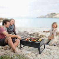 Barbecue Portable Mini Barbecue à Charbon Pliable BBQ Grill Barbecue Démontable de Table 35 x 27 x 19.5 cm pour Jardin, Balcon, Voyage, Camping - Noir