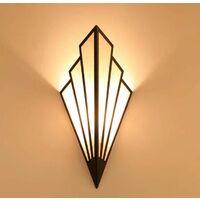 ILoveMilan 2 pièces Applique murale à LED couloir couloir lampe d'escalier de style européen chambre hôtel lampe de chevet lampe murale créative intérieure en forme d'éventail (noir, 2 pièces