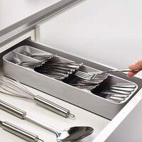 ILoveMilan Boîte de rangement Tiroir de cuisine Boîte de rangement pour couteau et fourchette Cuillère à soupe Couteau et fourchette (grise)