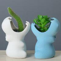 ILoveMilan Pot de Fleur en Céramique Pots de Fleurs pour Plante Succulente, Forme Trou de Drainage Mini Pots de Fleurs en Céramique pour Décoration de Bureau Jardin Salon pot de fleur (hippopotame, noir