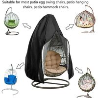 ILoveMilan Chaise suspendue pour balançoire de jardin en tissu Oxford 210D, housse de protection imperméable et étanche à la poussière et à l'eau, fermeture à glissière au milieu, housse de chaise suspendue, noir, 190x115cm,