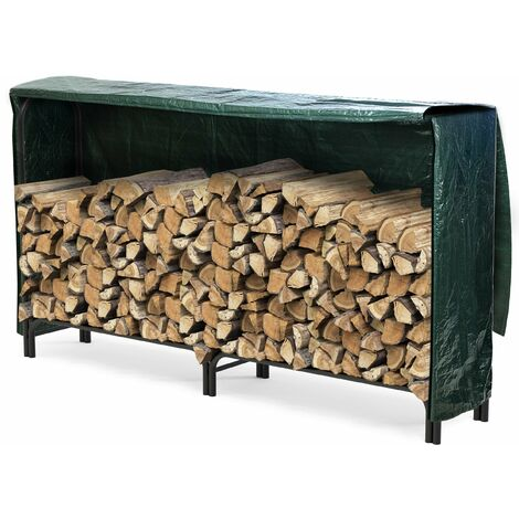 VOUNOT Firewood Log Rack with Cover, Metal Log Store Outdoor, 200 x 36 x 116 cm