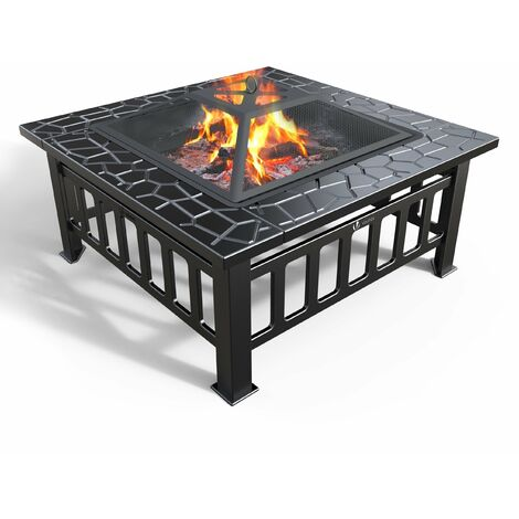 VOUNOT Fire Pit with BBQ Grill Shelf, Outdoor Metal Brazier with Waterproof Cover