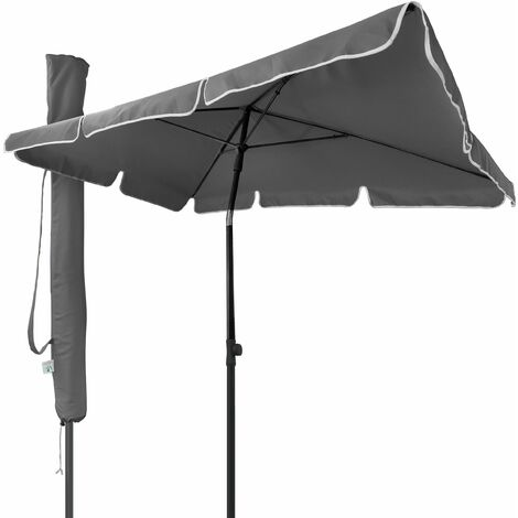VOUNOT Garden Parasol, Tilt Balcony Umbrella with Cover, 2 x 1.25m Grey