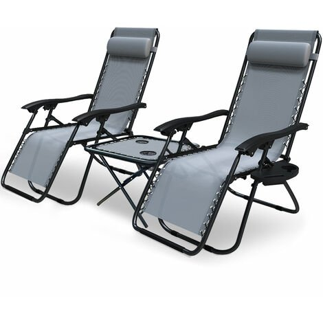 VOUNOT Set of 2 Zero Gravity Chair and Matching Table, Reclining Sun Loungers with Cup & Phone Holder, Grey