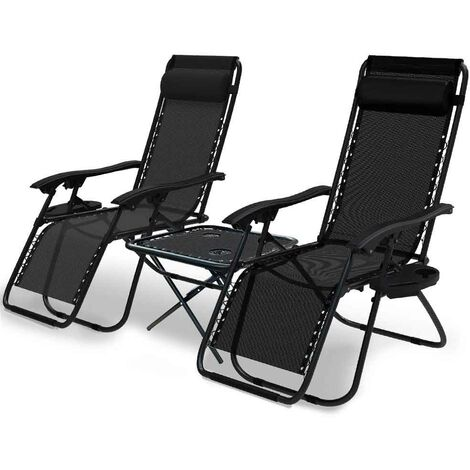 VOUNOT Set of 2 Zero Gravity Chair and Matching Table, Reclining Sun Loungers with Cup & Phone Holder, Black
