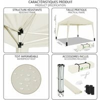 VOUNOT 3x3m Pop Up Gazebo with 4 Leg Weight Bags, Folding Party Tent for Garden Outdoor, White