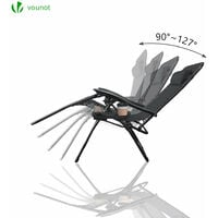 VOUNOT Zero Gravity Chairs, Garden Sun Loungers with Cup and Phone Holder, Black