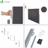 VOUNOT Side Awning Retractable, Privacy Screen for Garden, Balcony, Terrace, 140 x 300 cm, Anthracite