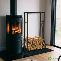 VOUNOT Firewood Log Rack, Retractable Metal Log Store Holder for Outdoor or Indoor, Black