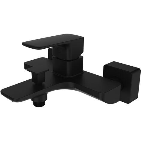 Black wall mounted bath mixer tap - Sirius