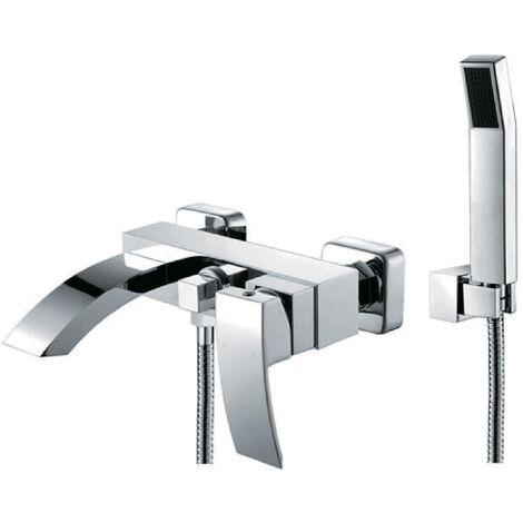 Chrome wall mounted bath mixer tap - Deneb
