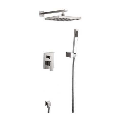 Brushed nickel concealed shower mixer composition - Alnair