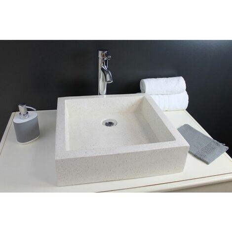 Vasque timbre à poser en Terrazzo 40x40cm pierre - Pierre