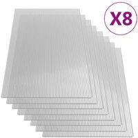 Paneles de policarbonato 8 unidades 4 mm 121x60 cm