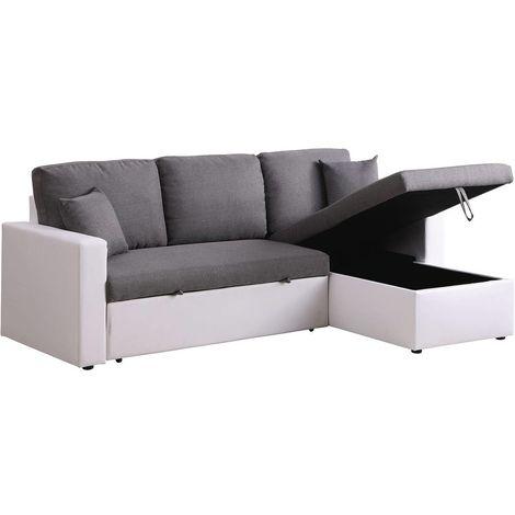 Divano ad angolo trasformabile con contenitore Alain - 221 x 145 x 85 cm - 3 posti a sedere - Grigio / Bianco