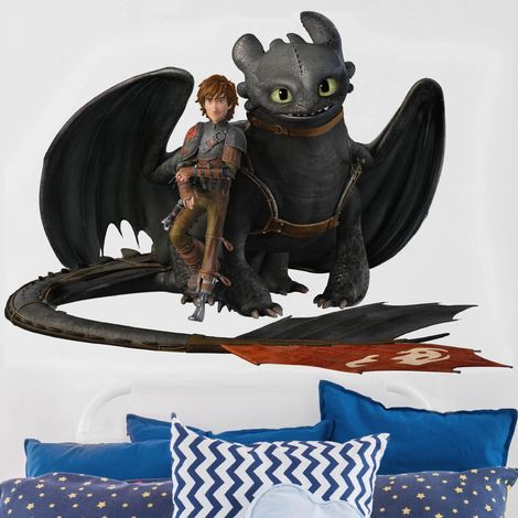 Sticker mural Dragons Hiccup And Toothless Take A Break Dimension: 30cm x 40cm
