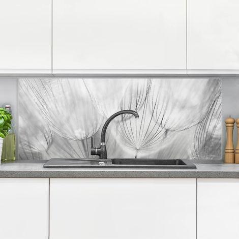 Crédence en verre - Dandelions Macro Shot In Black And White - Panorama Dimension: 40cm x 100cm
