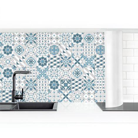 Crédence adhésive - Geometric Tiles Mix Blue Gray Dimension HxL: 50cm x 50cm Matériel: Smart