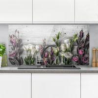 Crédence en verre - Tulip Rose Shabby Wood Look - Paysage 1:2 Dimension: 40cm x 80cm