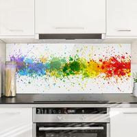 Crédence en verre - Rainbow Splatter - Panorama Dimension: 40cm x 100cm