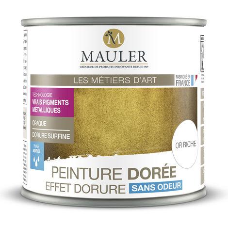 Peinture métallique effet or riche, cuivre, argent ou aluminium 0,5L : intérieur et extérieur, à base de vrais pigments métalliques - Effet Or Riche - 0,5L