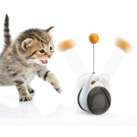 TRIOMPHE Jouet auto-hey pour chat (balancier voiture boule noire et blanche + accessoires tige de plume