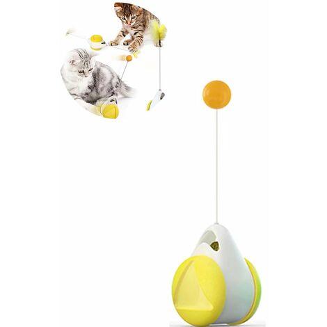 TRIOMPHE Jouet auto-hey pour chat (balancier voiture balle jaune et blanche + tige de plume accessoire