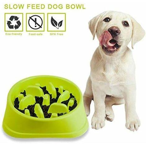 TRIOMPHE Ustensiles de nourriture pour animaux de compagnie, bol en plastique pour animaux de compagnie, type dentelé, bol rond pour nourriture lente, bol pour chat anti-étouffement, bol pour chien (vert 20,5 * 18,5 * 4,5 cm