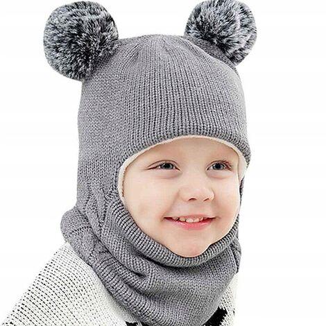 Triomphe Bonnet pour enfants, bavoir, une pièce plus cache-oreilles épaissis en velours couvre-chef hiver hommes et femmes bébé bonnet en laine tricoté chaud, gris