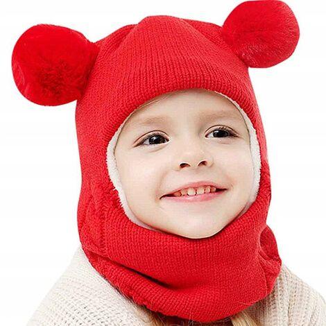Triomphe Bonnet pour enfants, bavoir, une pièce plus cache-oreilles épaissis en velours, hiver hommes et femmes bonnet en laine tricoté chaud, rouge