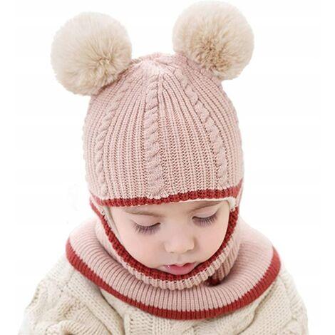 Triomphe Bonnet pour enfants style automne et hiver double boule de laine une pièce bonnet de laine épaississement en peluche pour garder au chaud bonnet tricoté pour bébé mâle et femelle de 2 ans, type boule de laine beige