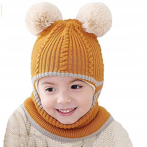 Triomphe Bonnet pour enfants automne et hiver double boule de laine bonnet de laine une pièce en peluche épaissie pour garder au chaud 2 ans bonnet tricoté pour bébé mâle et femelle, boule de laine jaune