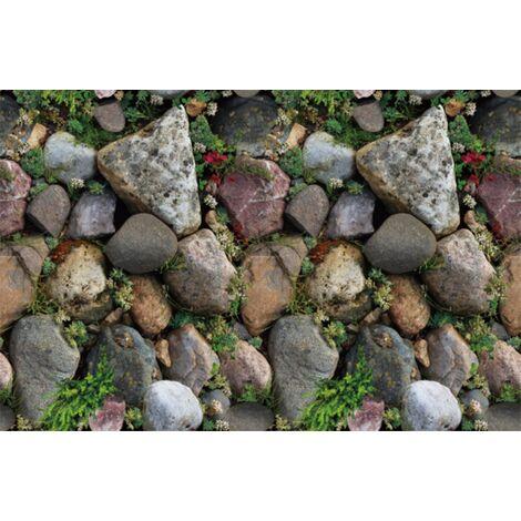 Triomphe 3D imperméable à l'eau motif de brique stickers muraux auto-adhésif papier peint nostalgique café bar restaurant PVC papier peint 45CMX10m auto-adhésif papier peint nostalgique (SA-1032 fleur artificielle pierre