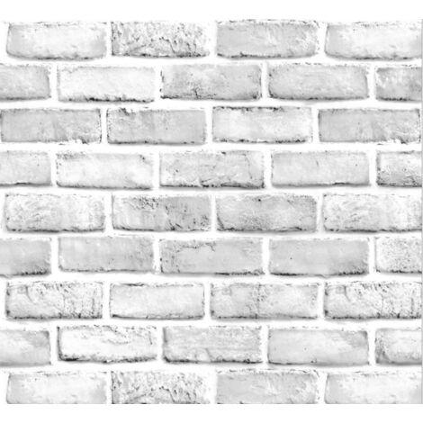 TRIOMPHE 3D imperméable à l'eau motif de brique stickers muraux auto-adhésif papier peint nostalgique café bar restaurant PVC papier peint 45CMX10m papier peint nostalgique auto-adhésif (SA-1022 brique blanche