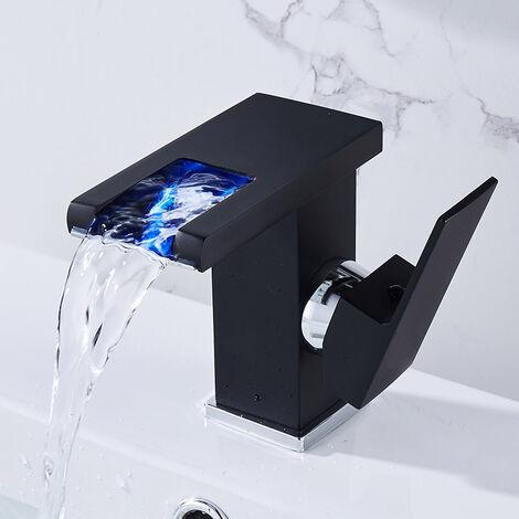 TRIOMPHE Bassin cascade robinet d'eau chaude et froide lumineux robinet de légumes arroseur (La section courte noire n'inclut pas les tubes chauds et froids)