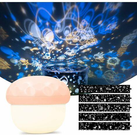 Triomphe LED LED Projecteur Rechargeable Bébé Night Light avec 5 fois la conception de projection et mode d'éclairage 6 fois - Champignon de nuit - rose