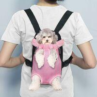 Triomphe Sac pour animaux de compagnie, sac à dos pour chats et chiens, sac à dos respirant pour animaux de compagnie, sac de poitrine pour animaux de compagnie, sac à dos en filet portable pour animaux de compagnie, rose XL